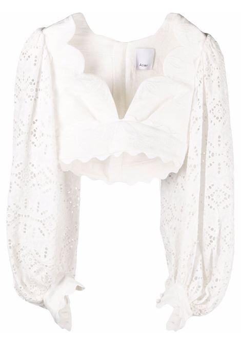 Blusa crop ricamato con scollo a V bianco- donna ACLER | Bluse | AL201001TNTRL