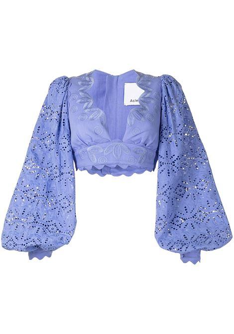 Blusa crop ricamato con scollo a V blu- donna ACLER | Bluse | AL201001TWDGWD