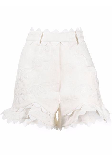 Shorts con ricamo a fiori bianco- donna ACLER | Shorts | AL201003PNTRL