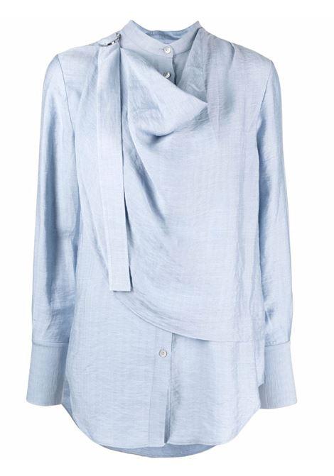 Blusa maniche lunghe drappeggiato azzuro- donna ACLER | Bluse | AL201076TCRNFLWR