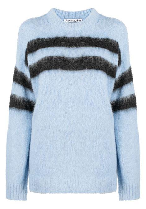 Maglione a girocollo con righe orizzontali blu- donna ACNE STUDIOS | A60261CMF