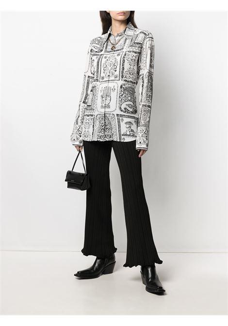 Camicia con stampa a maniche lunghe nero e bianco- donna ACNE STUDIOS | AC0336AEG