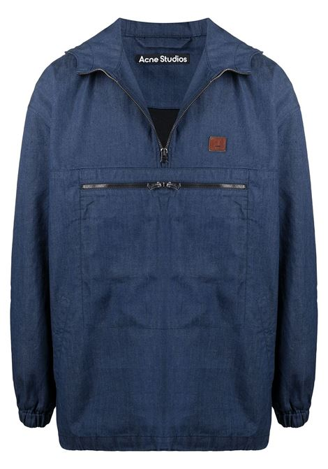 Giacca con logo frontale navy blu- uomo ACNE STUDIOS | C90053135