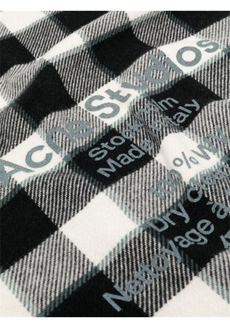 Sciarpa con stampa a quadri nero e bianco- donna ACNE STUDIOS | CA0103BAN