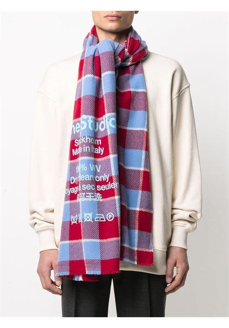 Sciarpa con stampa a quadri rosso e blu- donna ACNE STUDIOS | CA0103CNP
