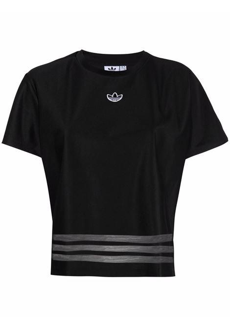 Black sheer-panelled T-shirt - women ADIDAS | T-shirt | GN3188BLK