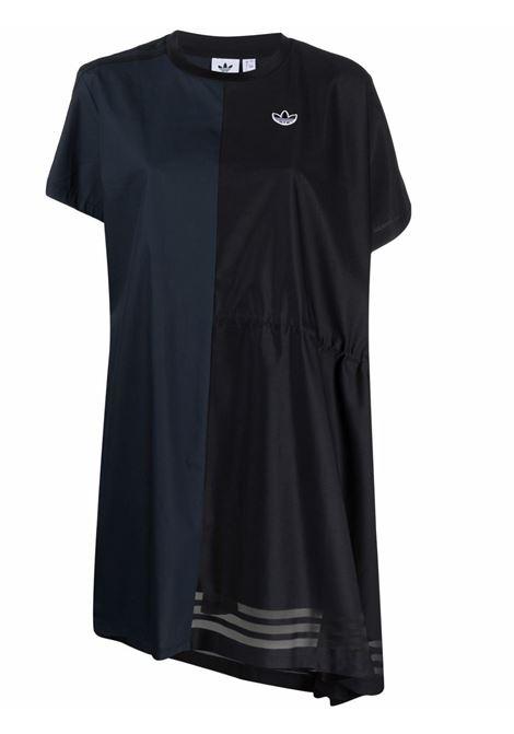 Navy blue and black asymmetric t-shirt dress - women ADIDAS | Dresses | GN3273BLK