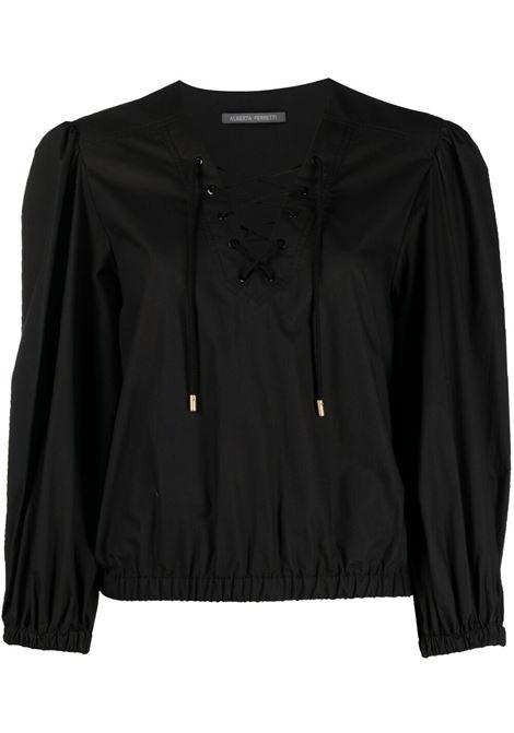 Alberta Ferretti blusa con coulisse donna nero ALBERTA FERRETTI | Bluse | A0215126555