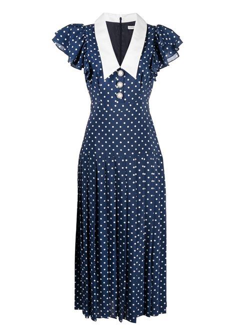 Alessandra Rich abito con stampa a pois donna blue navy white ALESSANDRA RICH   Abiti   FAB2344F31321944