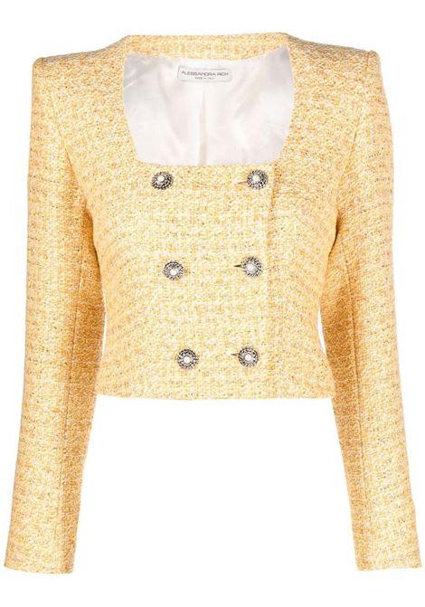 Alessandra Rich giacca in tweed con collo squadrato donna yellow white ALESSANDRA RICH | Giacche | FAB2347F31941624