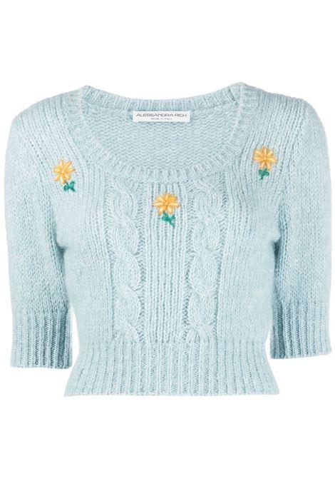 Alessandra Rich maglione lavorato a maglia donna light blue ALESSANDRA RICH | Maglie | FAB2461K321218359