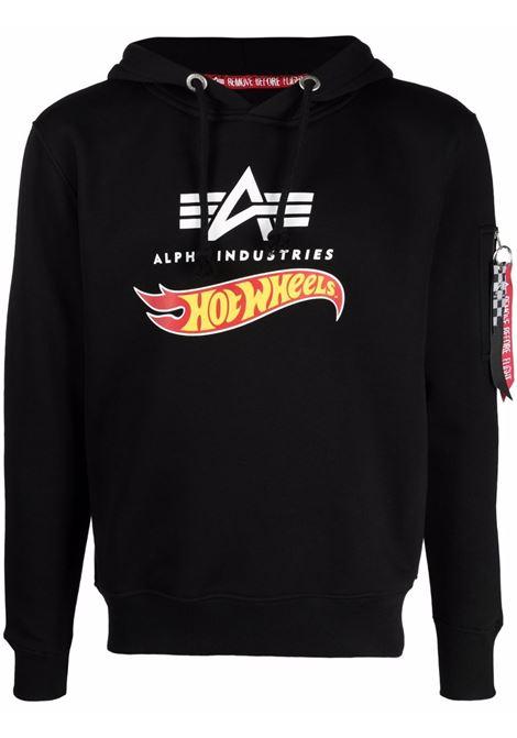 Logo sweatshirt with classic hood black -men  ALPHA INDUSTRIES X HOT WEELS | Sweatshirts | 11634403