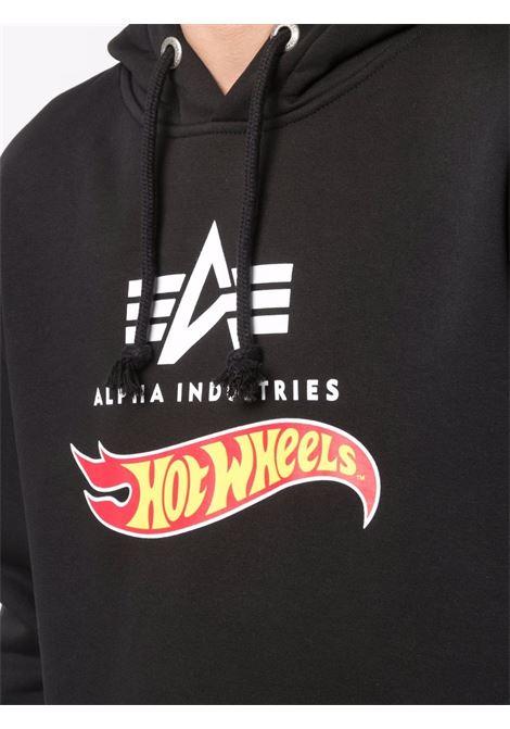 Logo sweatshirt with classic hood black -men  ALPHA INDUSTRIES X HOT WEELS | 11634403