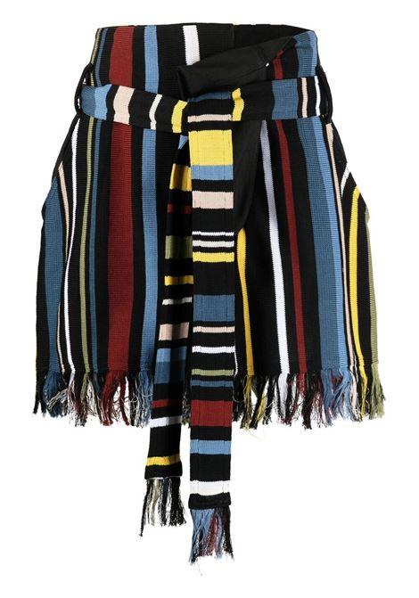 Ambush women stripe fringed shortsjet black multicolor AMBUSH | BWHM003S21KNI0011084