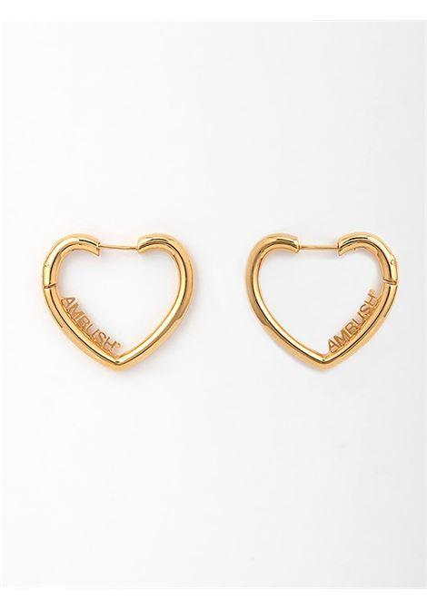 Mini heart hoop earrings AMBUSH | BWOD003S21MET0027600