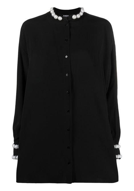 Amen camicia con perle donna black AMEN | Camicie | AMS21202009
