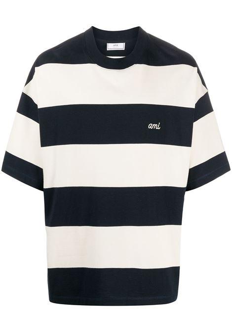 Ami Paris t-shirt a righe con logo uomo navy off white AMI PARIS | T-shirt | E21HJ13675419