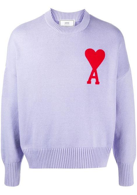 Ami Paris maglione ami de coeur uomo lila AMI PARIS | Maglie | E21HK009016504