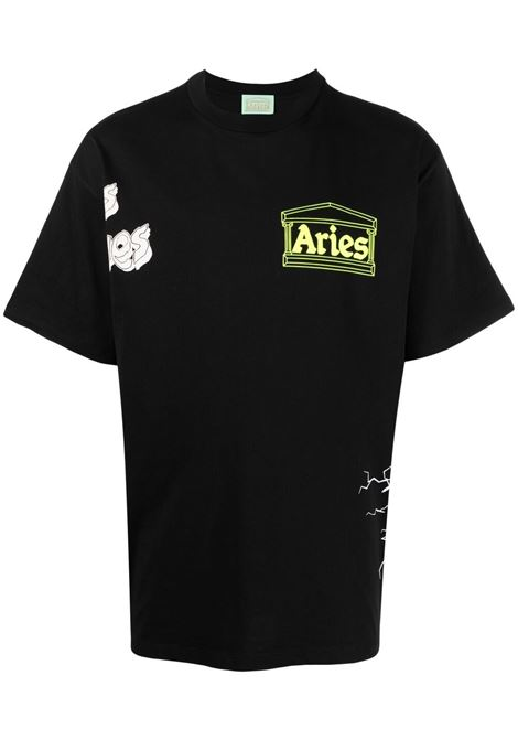 Aries t-shirt graphic print men black ARIES | T-shirt | SRAR60003BLK