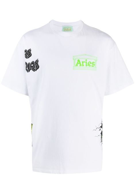 Aries t-shirt logo patch work men white ARIES | SRAR60003WHT