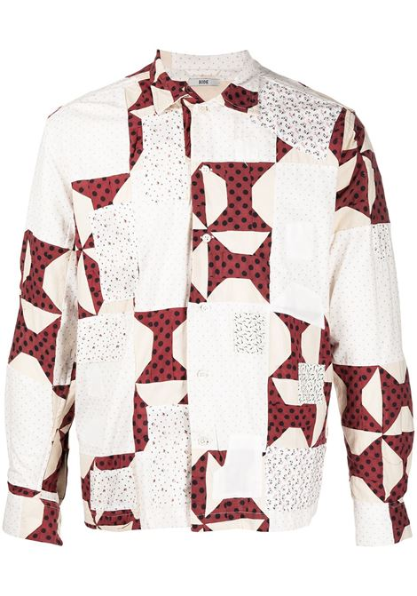 Bode camicia con design patchwork uomo red tan BODE | Camicie | MR22SH06CQ001621