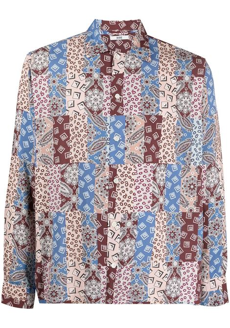 Bode camicia con design patchwork uomo blue red ecru BODE | Camicie | MR22SH06PS001771