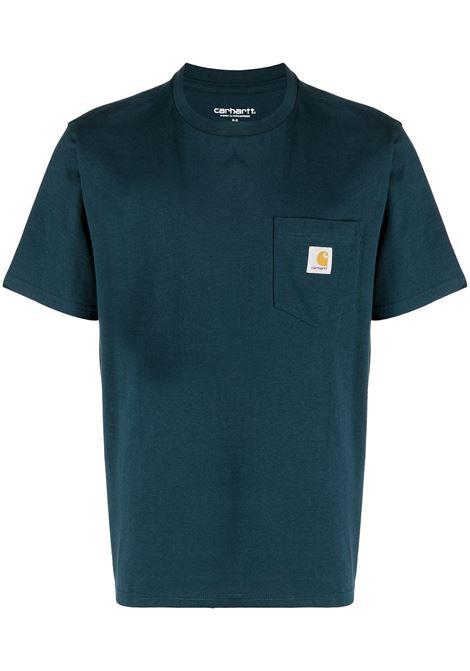 Carhartt t-shirt con logo uomo deep lagoon CARHARTT   T-shirt   I0220910AU0003DPLGN