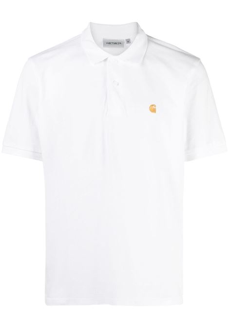 Carhartt logo polo shirt men white gold  CARHARTT | Polo | I023807029003WHTGLD