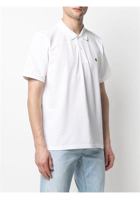 Carhartt logo polo shirt men white gold  CARHARTT | I023807029003WHTGLD