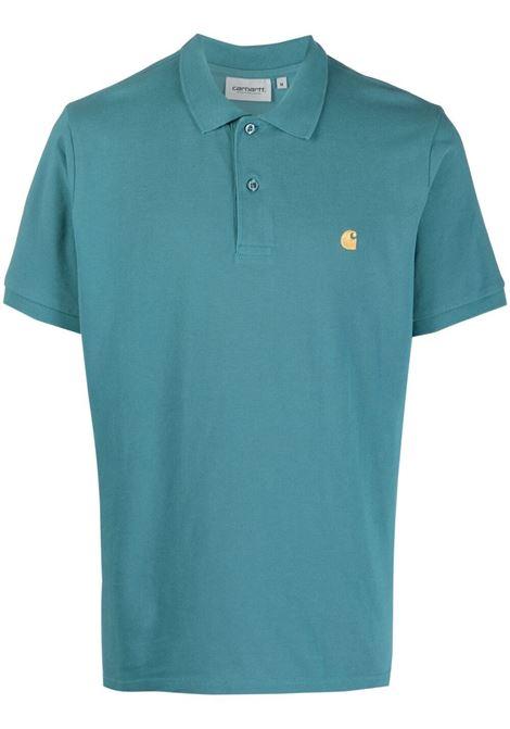 Carhartt logo-embroidered polo shirt men hydro gold CARHARTT | Polo | I0238070AC9003HYDRGLD