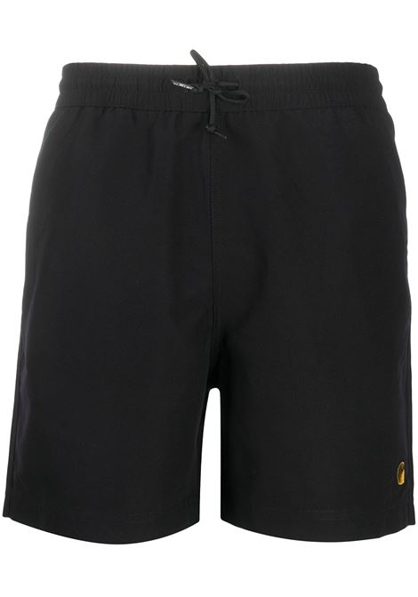 Carhartt chase logo swimming shorts men black gold CARHARTT | Swimwear | I026235899003BLKGLD