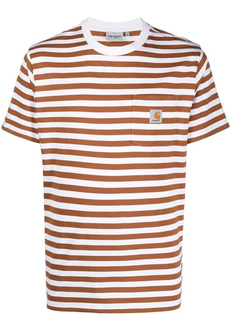 Carhartt striped t-shirt men rum white CARHARTT | T-shirt | I0290000AB9003RMWHT