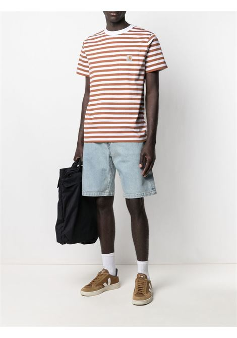 Carhartt striped t-shirt men rum white CARHARTT | I0290000AB9003RMWHT