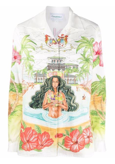 Camicia con stampa- donna CASABLANCA | Camicie | WS21SH013KMHMH