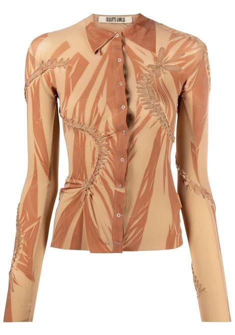 Charlotte knowles camicia con stampa astratta donna orange CHARLOTTE KNOWLES | Camicie | VISH0OSORNG