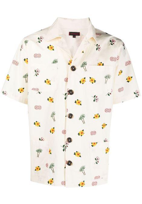 Camicia a fiori in crema e multicolore - uomo CLOT   Camicie   CLTE21SS1015OFFWHT