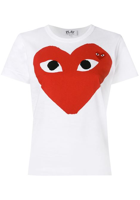 Comme des garcons play heart eyes t-shirt women white COMME DES GARCONS PLAY | T-shirt | P1T025A