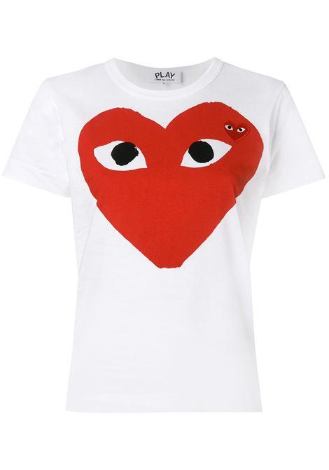 Comme des garcons donna t-shirt heart eyes white COMME DES GARCONS PLAY | T-shirt | P1T025A