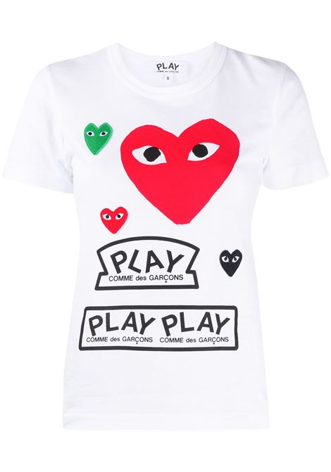 Comme des garcons play heart print t-shirt women white COMME DES GARCONS PLAY | T-shirt | P1T2791