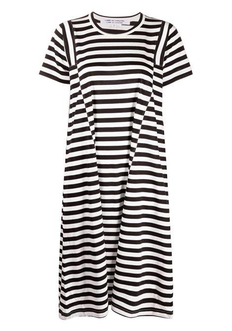 Comme des garcons abito modello t-shirt a righe donna black off white COMME DES GARCONS | Abiti | RGT0220511