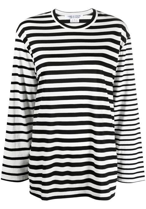 Comme des garcons t-shirt a righe donna black off white COMME DES GARCONS | T-shirt | RGT0240511