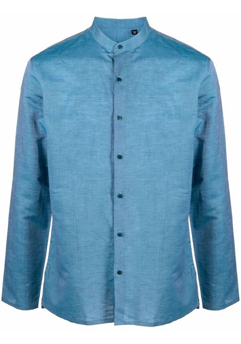 Camicia con colletto alla coreana in blu - uomo COSTUMEIN | Q1963