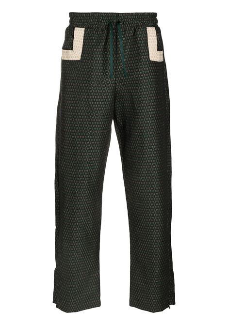 Drôle De Monsieur pantaloni con effetto jacquard uomo green DRÔLE DE MONSIEUR | Pantaloni | SS21BP004GN