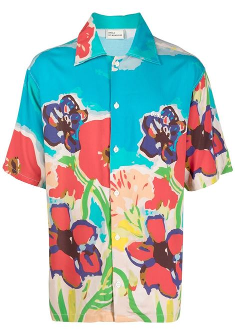 Drôle De Monsieur camicia a fiori uomo blue sky DRÔLE DE MONSIEUR | Camicie | SS21SH008BS
