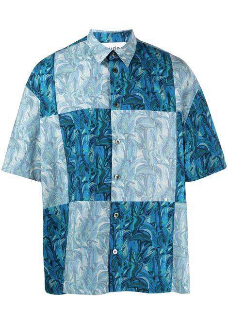 Études panelled-print shirt men liberty blue ÉTUDES | E18M30103