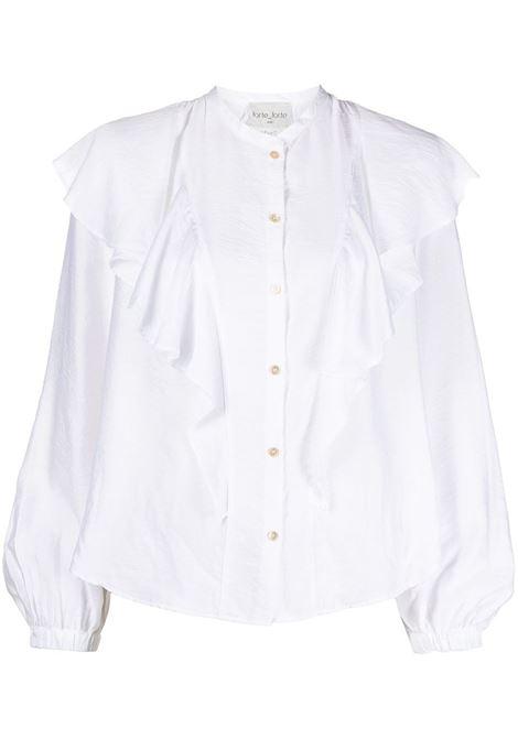 Forte Forte camicia con ruches donna bianco FORTE FORTE | Camicie | 8067BNC