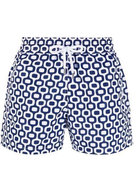 Frescobol carioca graphic print swim shorts men navy blue FRESCOBOL CARIOCA | Swimwear | 100804