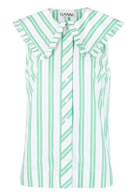 Ganni camicia kelly green donna GANNI | Camicie | F5739801