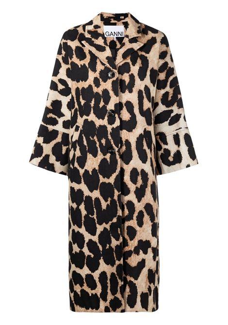 Ganni coat maxi leopard women GANNI | Outerwear | F5788994