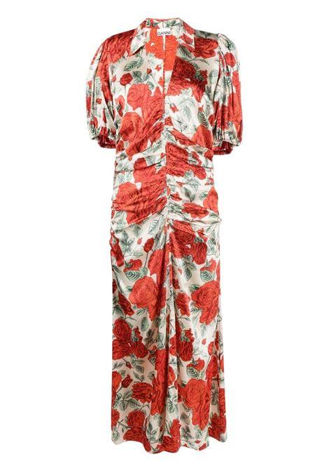 Ganni floral ruched dress women brazilian sand GANNI | Dresses | F5815196